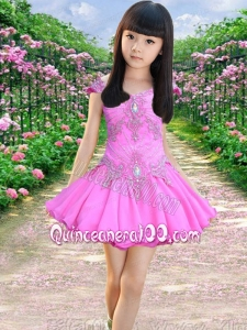 Off the Shoulder A-Line Short sleeves Appliques and Beading Cute Little Girl Dress