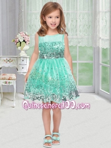 Popular A-Line Scoop Knee-length Paillette Green Little Girl Dress