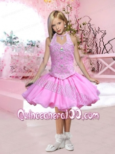 Pretty Appliques and Beading Halter Short Little Girl Dress for 2014