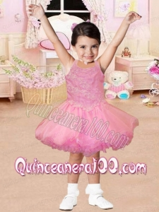 Pretty Straps Appliques and Ruffles Pink Little Girl Dress for 2014