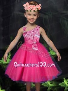 Romantic A-Line Asymmetrical Bowknot Print Hot Pink Flower Girl Dress with Tea-length