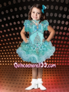 Romantic A-Line V-neck Mini-length Beading Bowknot Turquoise Little Girl Dress