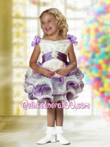 Romantic Ball Gown Mini-length Beading White and Purple Little Girl Dress with V-neck