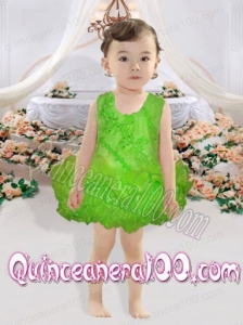 Scoop Backless Short Beading and Ruffles 2014 Little Girl Dress in Spring Green