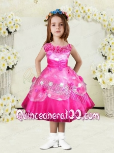 Sweet A-Line Bateau Tea-length Hand Made Flowers Bowknot Hot Pink Little Girl Dress