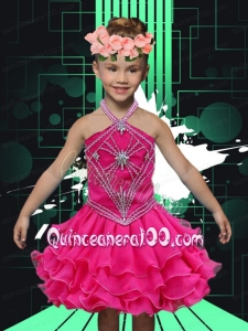 Sweet A-Line Halter Mini-length Appliques Ruffle Hot Pink Little Girl Dress