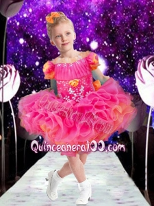 Sweet Ball Gown Bateau Mini-length Hand Made Flowers Beading Hot Pink Little Girl Dress