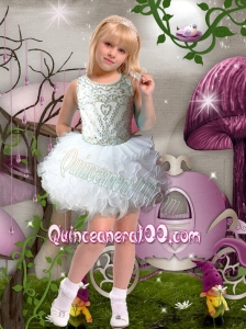 Sweet Ball Gown Halter Mini-length Beading White Flower Girl Dresses