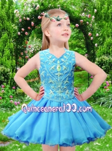 Unique Fashions A line V-neck Tea-length Beading Aqua Blue Little Girl Dress for 2014