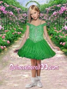 2014 Elegant Off the Shoulder Appliques Little Girl Dress with Beading