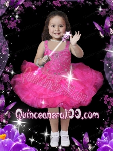 2014 Hot Pink Square Organza Knee-length Little Girl Dress