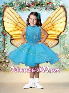 2014 Lavender Short Scoop Little Girl Dress with Beading and Ruffles