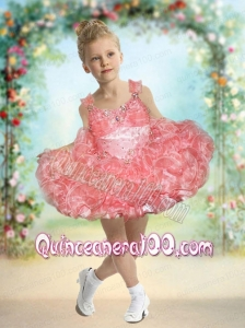 2014 Luxurious Straps Short Beading and Ruffles Watermelon Little Girl Dress
