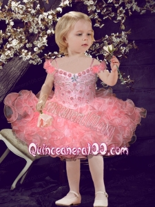 2014 Popular Ball Gown Mini-length Watermelon Little Girl Dress