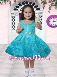 Aque Blue Scoop Knee-length Little Girl Dress with Embroidery