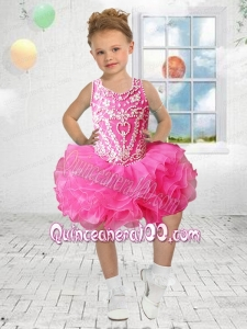 Ball Gown Halter Mini-length Bowknot Beading Hot Pink Little Girl Dress