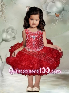 Ball Gown Red Knee-length Beading Little Girl Dress with Scoop