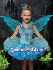 Ball Gown Square Mini-length Beading Appliques Blue Exquisite Little Girl Dress