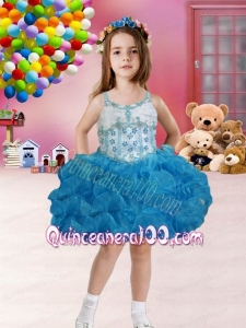 Ball Gown Straps Mini-length Blue Little Girl Dress with Bowknot