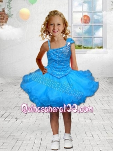 Beautiful A-Line Asymmetrical Mini-length Beading Blue Little Girl Dress