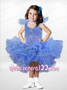 Beautiful Ball Gown Square Beading Ruffles Blue Little Girl Dress with High-low
