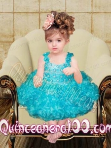 Beautiful Ball Gown Straps Knee-length Little Girl Dress with Beading