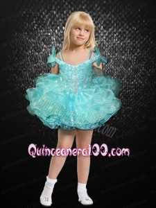 Beautiful Beading and Ruffles Off the Shoulder Little Girl Dress with Bowknot