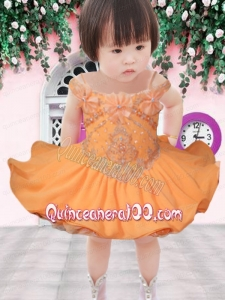Cute A-Line Off the Shoulder Mini-length Beading Yellow Little Girl Dress