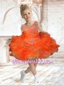 Cute Asymmetrical Beading and Ruffles 2014 Orange Little Girl Dress with Mini-length