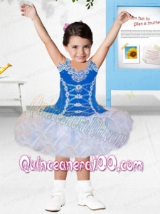 Cute Ball Gown Scoop Knee-length Appliques Blue and White Little Girl Dress