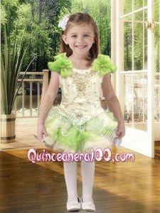 Cute Ball Gown Scoop Mini-length Beading White and Green Little Girl Dress