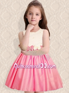 Elegant A-Line Scoop Mini-length Bowknot White and Pink Flower Girl Dress
