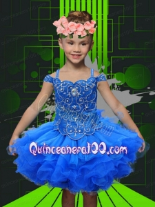 Elegant Ball Gown Spaghetti Straps Knee-length Beading Royal Blue Flower Girl Dress