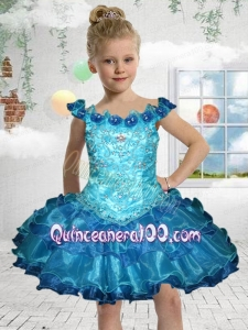 Exquisite Off the Shoulder Mini-length Blue Little Girl Dress with Beading