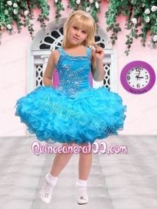 Fashionable Ball Gown Asymmetrical Mini-length Beading Blue Little Girl Dress