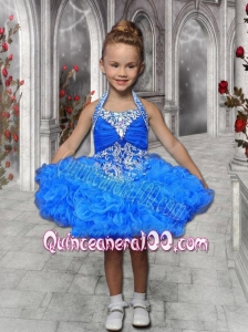 Fashionable Beading and Ruffles Halter 2014 Little Girl Dress in Royal Blue
