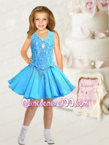 Formal V-neck A-Line Aqua Blue Little Girl Dress with Beading