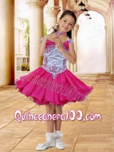 Hot Pink Off the Shoulder A-Line Little Girl Dress with Appliques and Beading