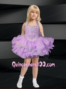 Lavender Ball Gown Halter Top Mini-length Little Girl Dress with Beading