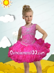 Luxurious Ball Gown Halter Mini-length Beading Hot Pink Little Girl Dress