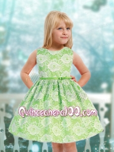 Modest A-Line Scoop Mini-length Lace Ribbons Green Little Girl Dress