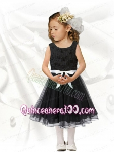 Modest A-Line Scoop Tea-length Bowknot Black Little Girl Dress