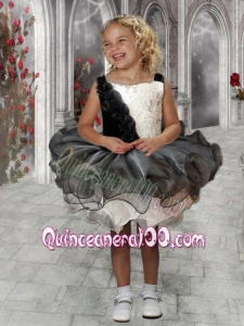 Modest Ball Gown Square Mini-length Black and White Little Girl Dress