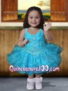Popular Ball Gown Straps Tea-length Beading Blue Little Girl Dress