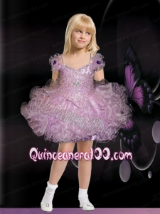 Pretty Lilac Ball Gown Short Beading Little Girl Dress with Bowknot