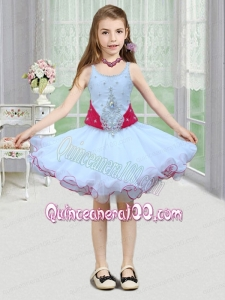 Romantic A-Line Spaghetti Straps Mini-length Beading White Little Girl Dress