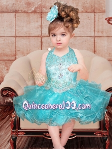 Sweet A-Line Halter Mini-length Beading Blue Little Girl Dress