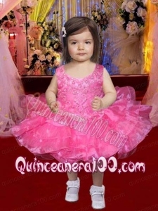 Sweet Ball Gown Straps Knee-length Beading Hot Pink Little Girl Dress