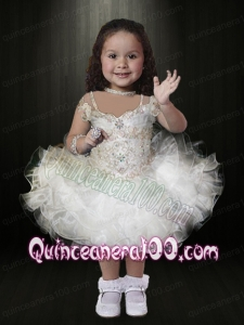 White Ball Gown Mini-length Beading Little Girl Dress with Off the Shoulder