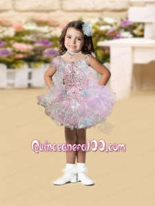 2014 Pink Scoop Mini-length Pretty Little Girl Dress with Beading